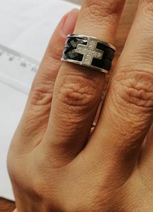 Каблучка срібна з керамікою та з вставками кубічного цирконію. італія
