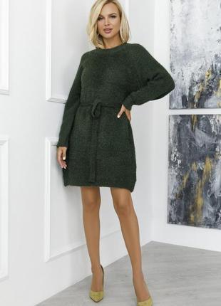 Вязаное платье-туника из пряжи травка (цветов много)