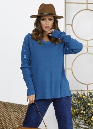 Модгый  ангоровый свободный свитер с декором разные цвета