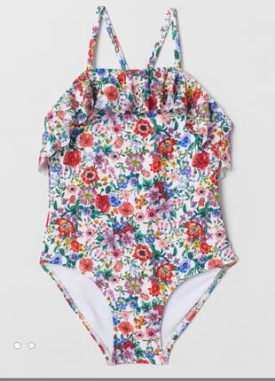 H&m купальник слитный сдельный для девочек, цветочный принт