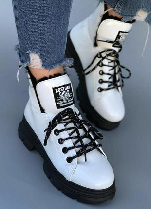 Зимние ботинки лаковые белые, спортивные