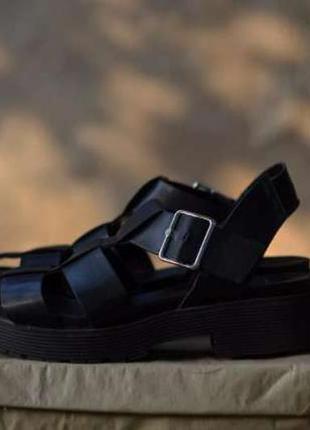 Босоножки zara черные, женские сандалии на грубой подошве