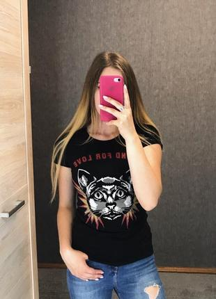 Чёрная футболка с котом котами blind for love