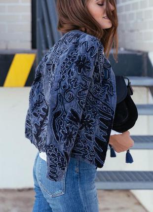 Zara жакет с вышивкой