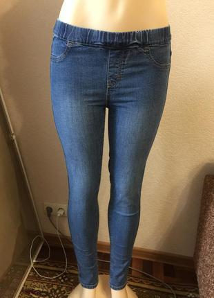 Стильные новые синие джинсы узкие джеггинсы next с высокой талией размер м