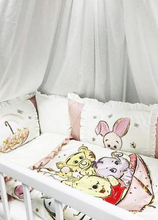 Набор постельного с бортиками в детскую кроватку, бортики розовые