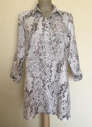 Доступно - удлиненная льняная рубашка *marco pecci* 14/16 р.