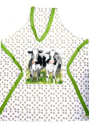 Фартук с нагрудником alex clark curious cows 100% хлопок новый фартух алекс кларк