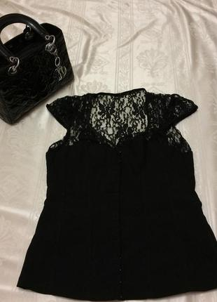 Черная нарядная корсетная блуза с кружевом