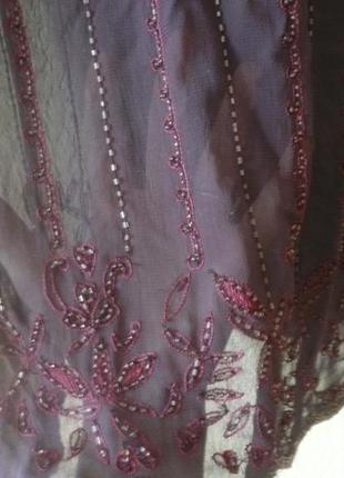 Прозрачный, фиолетовый топик, блуза, вышитый бисером от  next