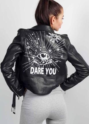 Новая косуха с надписями женская кожаная куртка косуха з написами