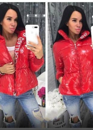 Женская  лаковая куртка пуховик courreges оверсайз красная