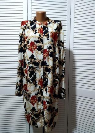 Асимметричное платье рубашка из вискозной ткани с рисунком