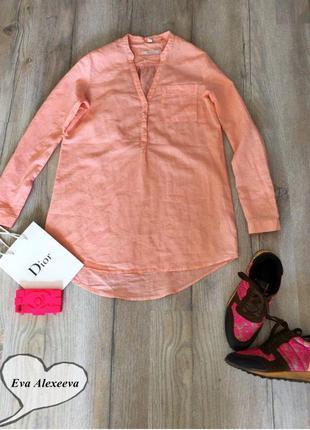 Стильная лёгкая удлинённая льняная персиковая рубашка esprit , блуза , блузка свободная