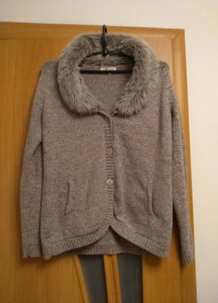 Классная теплая кофта, жакет, крдиган с карманами. размер 16-18