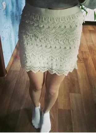 Милая ажурная юбка с замочком сзади