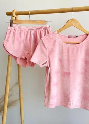 Плюшевая пижамка ( костюм для дома) цвет персиковый