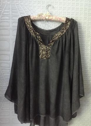 Шикарная итальянская  хлопковая блуза большого размера