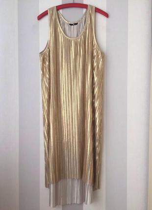 Золотистое платье плиссе h&m!
