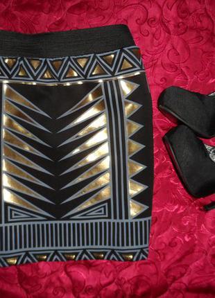 Шикарная мини юбка с золотым принтом,блестящая