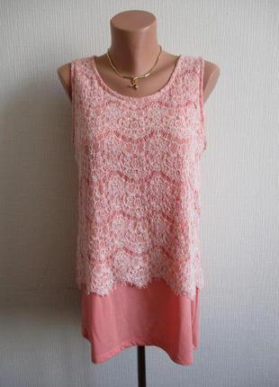 Красивая трикотажная блуза с кружевом ms mode
