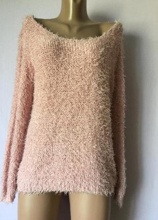 Пушистый свитер травка розовый пудра низкая цена