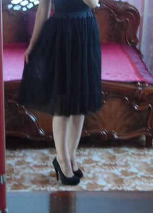 Шикарная черная пышная фатиновая юбка