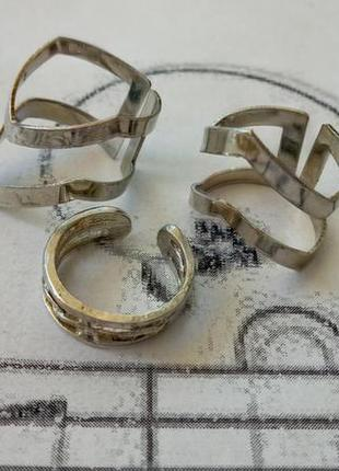 Набор серебристых колец 3 шт, бижутерия колечко, широкое и узкое кольцо