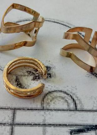 Набор золотистых колец 3 шт, бижутерия колечко, широкое и узкое кольцо