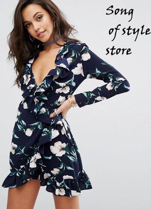 Prettylittlething платье мини с запахом и цветочным принтом