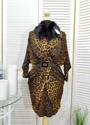 Платье  платье- туника модное стильноелеопардовый принт леопардовое тигровое