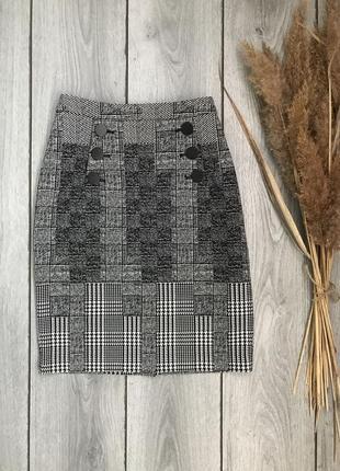 H&m юбка стильная на высокой посадке в клетку спереди пуговицы s 36 8 m 38 10