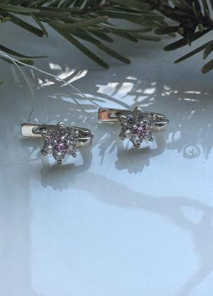Серьги серебряные кокетка 2 розовые 2137