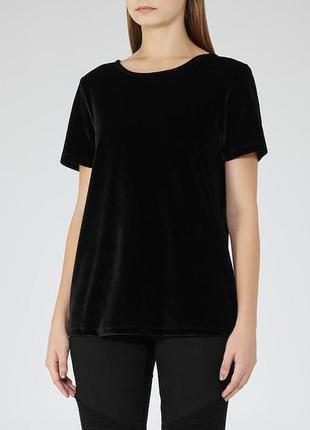 Чёрная бархатная велюровая футболка m-l