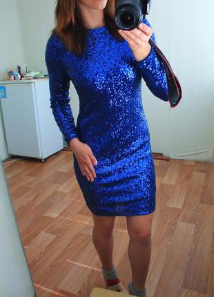 Шикарне плаття в паєтки р-р 10  довж. 90  пог 43 поб 44 см рукав 58 стан 5+ 549 грн