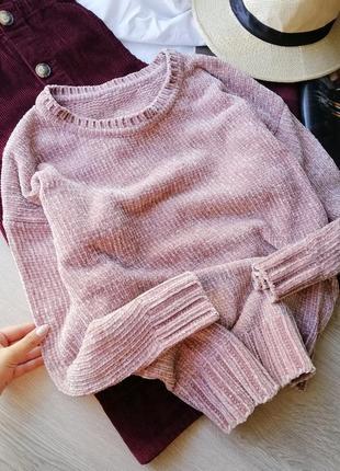 Крутой плюшевый свитер велюр