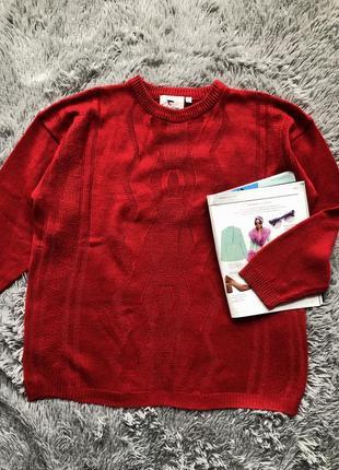 Красный вязаный свитер valentine