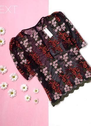 Актуальная блуза сетка с вышивкой