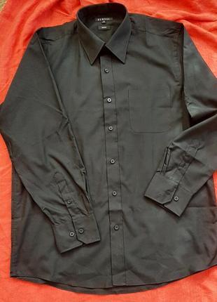 Черная классическая стильная рубашка сорочка с длинным рукавом george