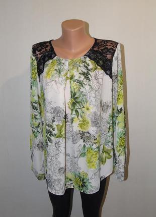 Блузочка 20 размера с кружевом на плечах