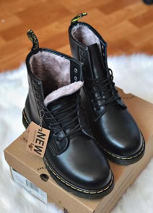 Шикарные мужские зимние ботинки сапоги dr. martens 1460 black fur ❄️ 😍 (на меху)