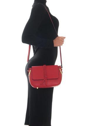 Итальянская красная кожаная сумка кроссбоди от vera pelle, италия