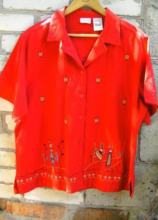 Красная рубашка с вышивкой white stag.