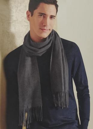 Мягкий мужской шарф серый livergy германия