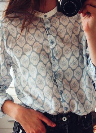 Рубашка голубой белый принт gap размер m