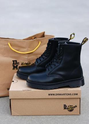Шикарные женские зимние ботинки dr. martens 1460 total black fur8 фото