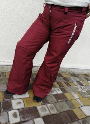Бордові лижні штани