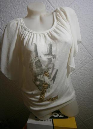 Блузка -туника трикотаж молочного цвета красивый рукавчик