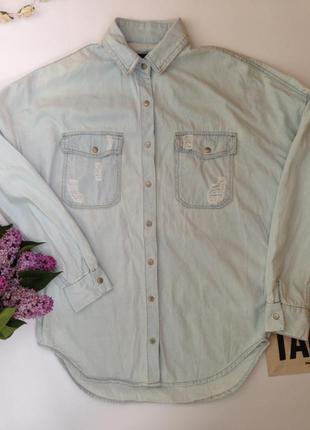 Удлиненная джинсовая рубашка с потертостями forever 21