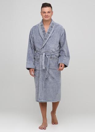 Халат rukim орнамент светло-серый домашний хлопок, махра